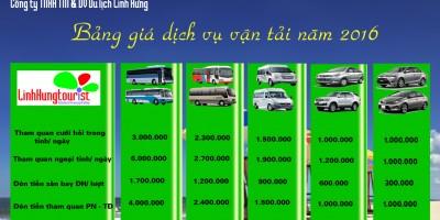 Bảng giá dịch vụ vận tải năm 2016